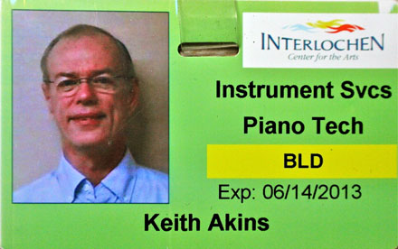 Interlochen Center for the Arts, Traverse City, Michigan,employee ID for Keith Akins,RPT