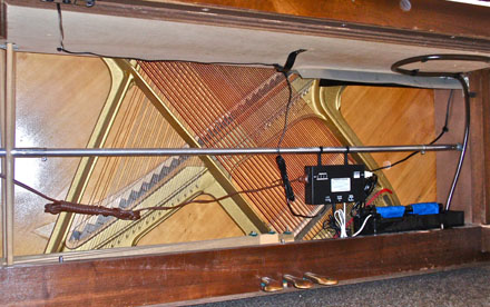Photo of Dampp Chaser Piano Life Saver System custom installed in piano.